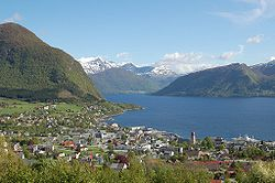 View of Volda and the Voldsfjorden