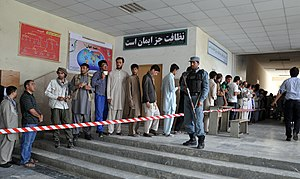 Afghan presidential election, 2014 - Voters queuing up in front of a polling center in Kabul during the 2014 presidential election.