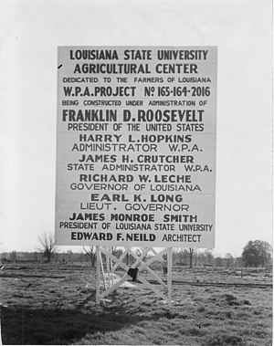 Louisiana State University Agricultural Center - Works Progress Administration construction sign for the Agricultural Center at Louisiana State University (1936)