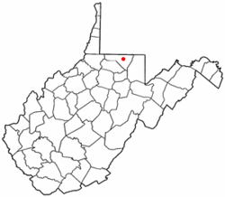 Location of Granville, West Virginia