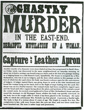 "Annie Chapman - Newspaper broadsheet referring to the killer as ""Leather Apron"", September 1888"