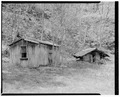 Wash house and spring house, view northwest - Trump-Lilly Farm, Hinton, Summers County, WV HABS WVA,45-HINT.V,1-20.tif