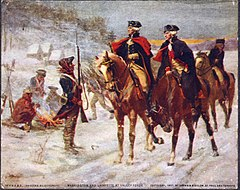 Two US officers on horseback on a snow-covered road, the sentry for a campsite standing in the snow at left, then to the right Washington mounted then Lafayette.
