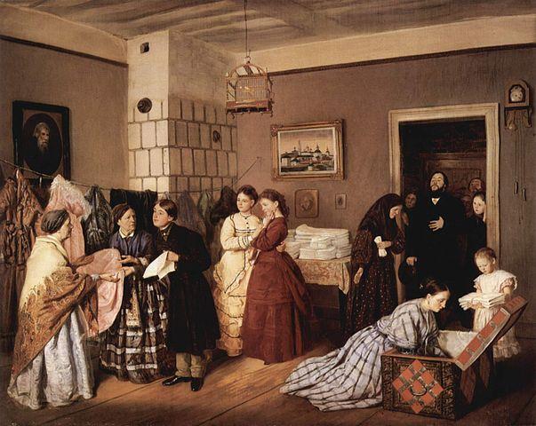 Kvinna packar hemgiftskistan 1800-tal