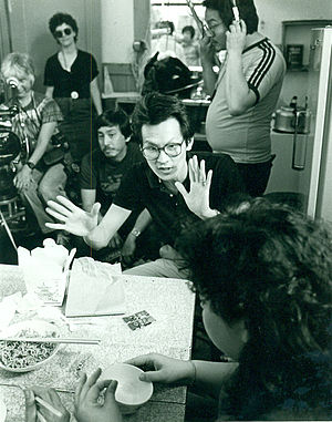Low-budget film - Wayne Wang directs actors in an early indie film (Dim Sum: A Little Bit of Heart) in San Francisco, California 1983. Photos by Nancy Wong.