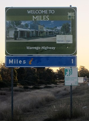 Miles, Queensland - Welcome to Miles signpost