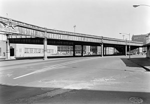 West Side Elevated Highway - West Side Highway looking north at Gansevoort Street. The collapsed section (removed) is shown at left behind frieze.