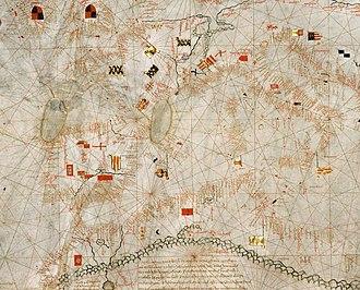 Guillem Soler - Image: Western Europe detail of portolan chart of Guillem Soler (c.1380, Paris)
