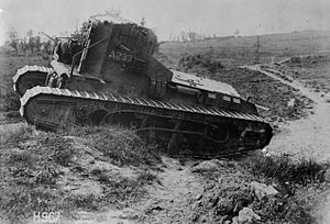 Second Battle of Bapaume - A Whippet tank crossing a trench near Grevillers, August 1918
