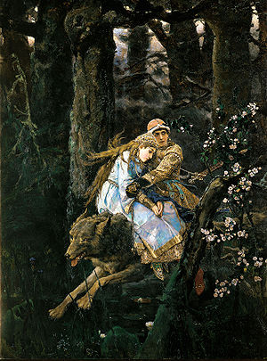 Ivan Tsarevich - Ivan Tsarevich riding the Gray Wolf by Viktor Vasnetsov, 1889.
