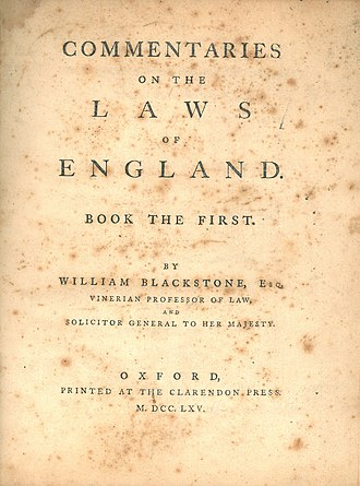 Commentaries on the Laws of England - The title page of the first book of William Blackstone's Commentaries on the Laws of England (1st ed., 1765)