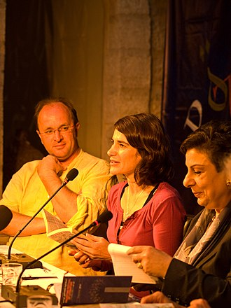 William Dalrymple (historian) - William Dalrymple (left) with Esther Freud (centre) and Hanan Ashrawi at PalFest 2008.