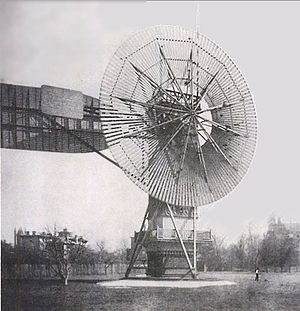 History of wind power -  Charles Brush's windmill of 1888, used for generating electricity.