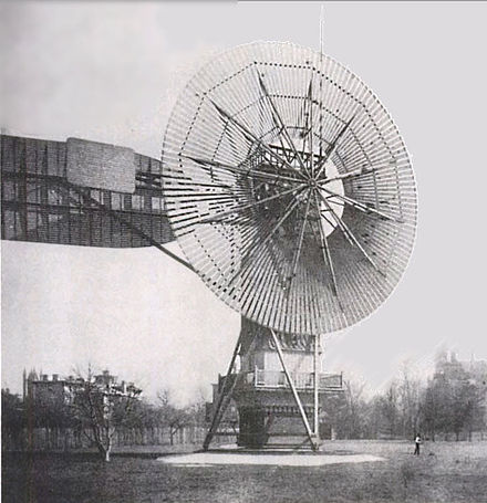 Charles Brush's windmill of 1888, used for generating electric power. Wind turbine 1888 Charles Brush.jpg