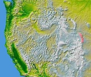 Laramie Mountains - The Laramie Mountains are shown highlighted in pink on a map of the western United States