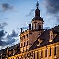 Wroclaw - wieza Uniwersytetu Wroclawskiego z ksiezycem w tle.jpg