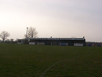 Blackpool F.C. Ladies - The stand at Hallgate Park with dugouts.