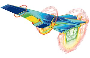 Computational fluid dynamics - A simulation of the Hyper-X scramjet vehicle in operation at Mach-7