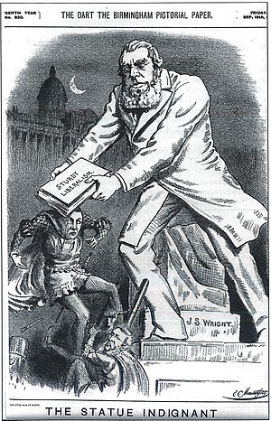 """John Skirrow Wright - Cartoon of 1892 depicting Wright's statue stepping off its plinth to beat Joseph Chamberlain with a volume marked """"Sturdy Liberalism"""""""