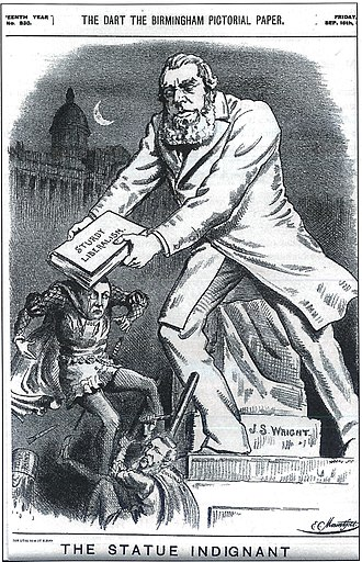 "Francis John Williamson - ""The Statue Indignant"": cartoon of 1892 depicting Williamson's statue of John Skirrow Wright in Colmore Row, Birmingham, stepping off its plinth to beat Joseph Chamberlain"