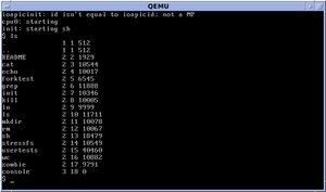 Xv6 - Image: Xv 6 LS Command Output