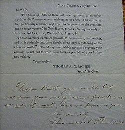 Class reunion wikipedia class reunion invitation yale college 1850 stopboris Image collections
