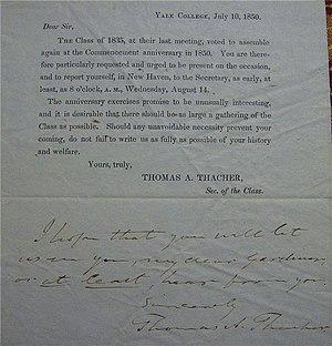 Class reunion - Class reunion invitation, Yale College, 1850