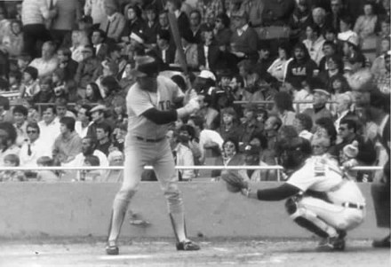 Carl Yastrzemski at-bat in Tiger Stadium, Detroit, Michigan, 1983