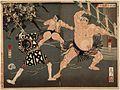 Yotsuguruma Daihachi and Kotengu Heisuke Duel during the Battle of the Wrestlers and the Firemen at Shimmei Shrine LACMA M.84.31.538.jpg
