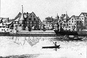 Bauschänzli - Drawing by Johann Balthasar Bullinger showing the bulwark in 1770.