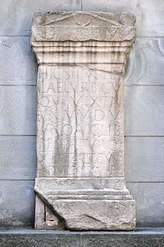 Lindenhof hill - Lucius Aelius Urbicus grave stone (200 AD) found at the upper part of the Pfalzgasse on Lindenhof