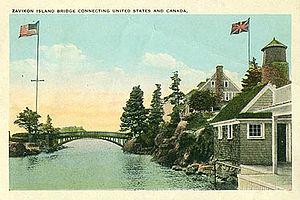 Zavikon Island - Antique image that suggests an international border crossing.