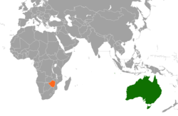 Map indicating locations of Zimbabwe and Australia