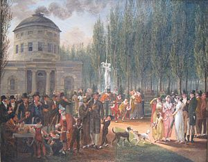 History of fountains in the United States - Fourth of July in Centre Square (c.1809-12), John Lewis Krimmel, Pennsylvania Academy of the Fine Arts.