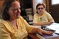 (Hurricane Katrina) Stone County, Miss., March 8, 2006 -- Cheryl Rasbury (left) and friend Gilda Tackett describe their ordeal during the landfall of Hurricane Katrina. They lived i - DPLA - 678bcfb6b6d342368960f60b98ee0a73.jpg