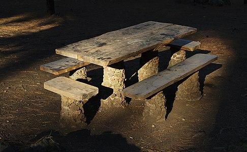 "Public picnic table at the ""Arenas Negras"" recreational area on Tenerife (Spain)."