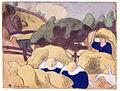 Émile Bernard Femmes faisant les foins (Women Making Haystacks) print 1889.jpg