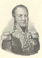 Sepia print shows a man with a high forehead wearing a dark uniform with epaulettes and gold braid on the collar and front of the coat.