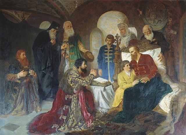 Котарбинский В. А. «Больной князь Дмитрий Пожарский принимает московских послов», 1882.