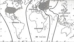 Geopolitics - Division of the world according to Haushofer's Pan-Regions Doctrine