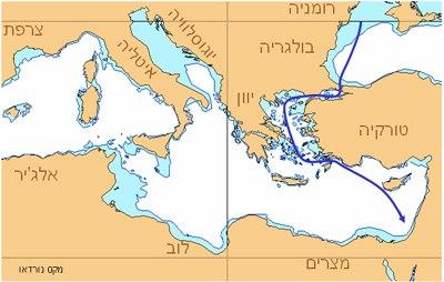 אוניית המעפילים מקס נורדאו - מסלול