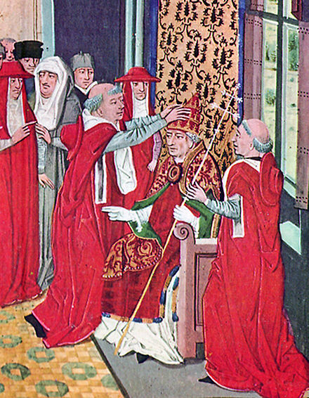 Guy of Boulogne crowning Pope Gregory XI in a 15th-century miniature from Froissart's Chroniques 07 Gregoire XI (couronne par Guy de Boulogne).jpg