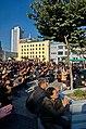 0922 - Nordkorea 2015 - Pjöngjang - Public Viewing am Bahnhofsplatz (22354331574).jpg
