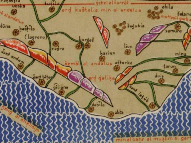 Detalle do noroeste da península ibérica na Tábula Rogeriana de Al Idrisi onde se aprecia o nome de Ard Galika entre outros. Ano 1154.