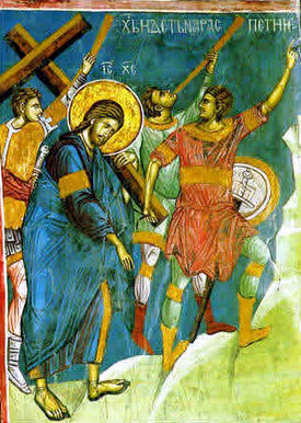14th-century fresco of Jesus Christ bearing the cross, Visoki Dečani, Kosovo.jpg