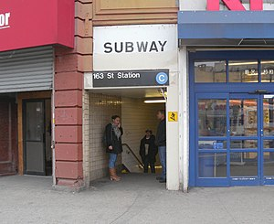 163rd Street–Amsterdam Avenue (IND Eighth Avenue Line) - The 162nd Street entrance to the station