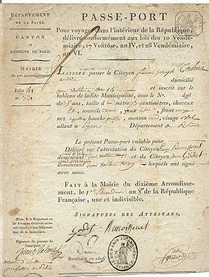 François-Joseph Talma - 1800 passport issued to François-Joseph Talma