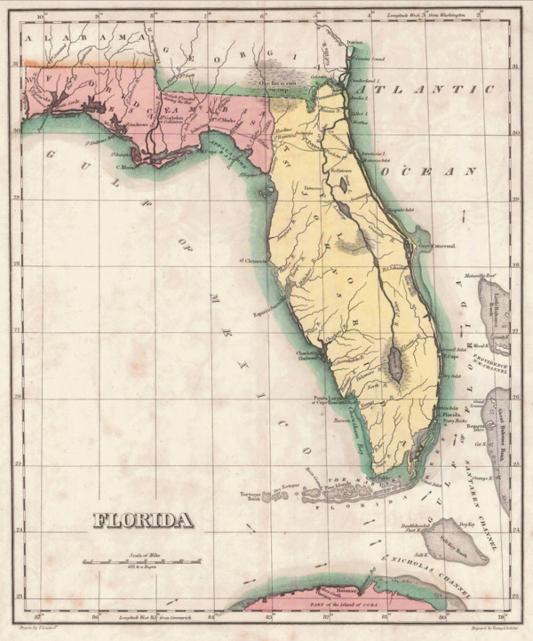 Under Spanish rule, Florida was divided by the natural separation of the Suwannee River into West Florida and East Florida. (map: Carey & Lea, 1822) 1822 Geographical, Statistical, and Historical Map of Florida by Henry Charles Carey, Isaac Lea and Fielding Lucas.png