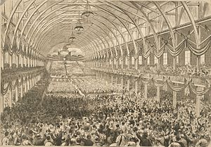 1876 Republican National Convention - Interior of the Exposition Hall of Cincinnati during the announcement of Rutherford B. Hayes as the party's nominee for president