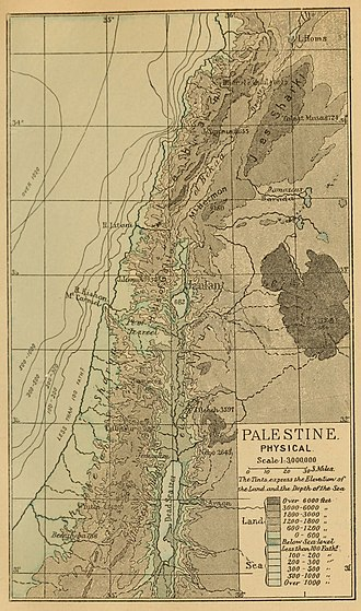 Batanaea - Image: 1889 Palestine, physical